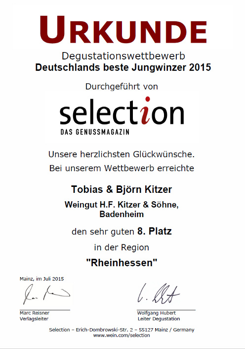 Jungwinzer 2015 selection urkunde