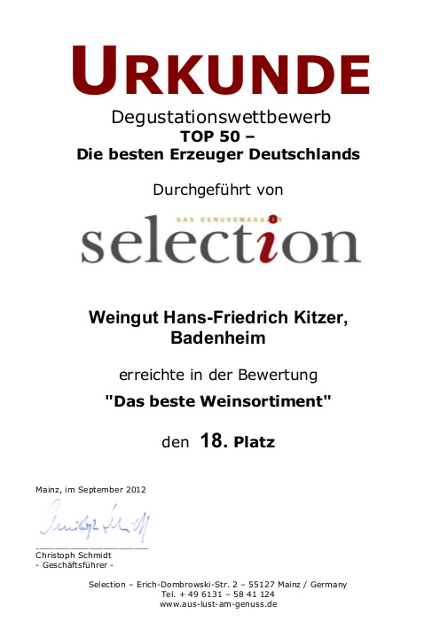 top50 weinsortiment selection urkunde